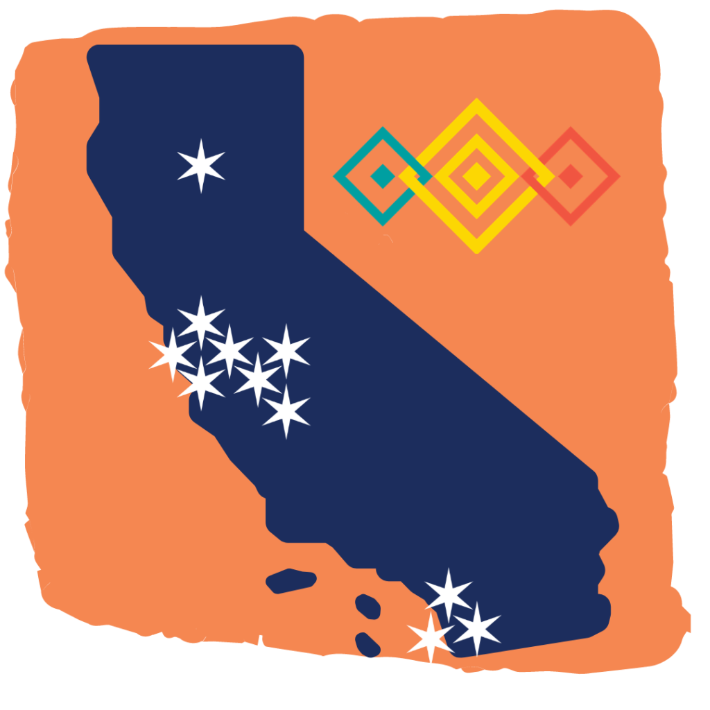 Map of California with white stars representing each member network